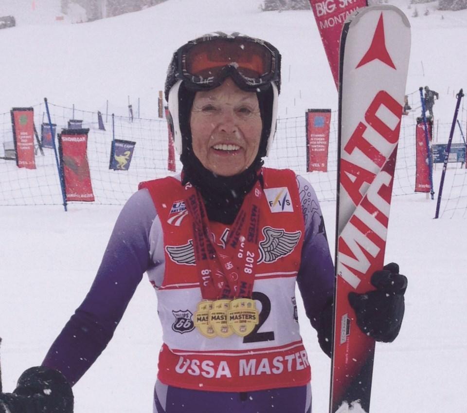 Grace Oaks in a still from the award-winning 2019 documentary, Ski Legends.