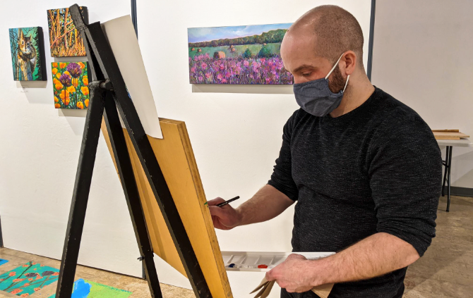 Richard Bell is loving his new role at Peace Gallery North, and has more time to work on his art, and improve his painting and drawing.