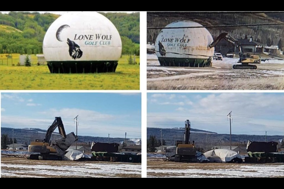 Taylor's landmark giant golf ball was dismantled on Feb. 23, 2021.