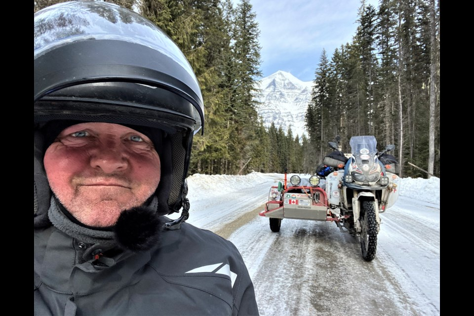 Winter is no deterrent for motorcycle adventurer Ron Bedard, who stopped on Highway 16 near Mount Robson on the cross-Canada leg of his 3 1/2-year trip to Tuktoyaktuk, N.W.T.