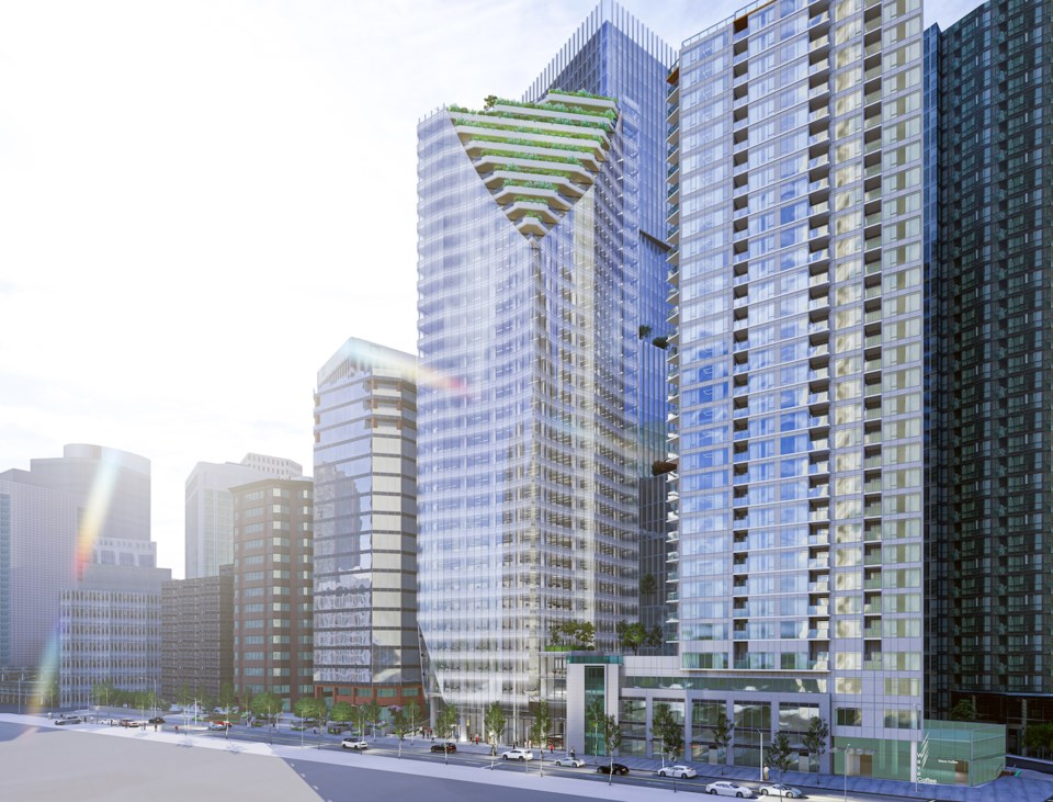 New tower for 1166 West Pender opens in 2024 or 2025.   Reliance Properties