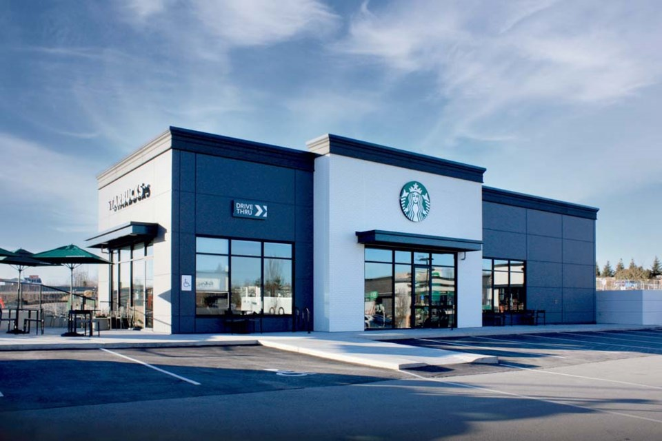 The first of-its-kind sustainably built Starbucks restaurant in Canada, assembled by Nexii in Abbotsford, B.C.
