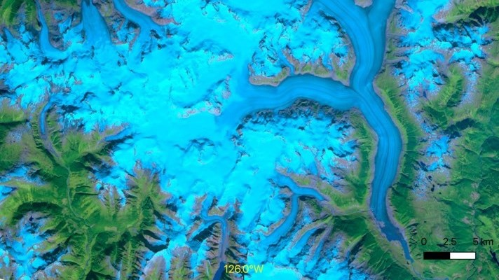A satellite image of the Klinaklini Glacier and the Ha-Iltzuk Icefield in British Columbia as imaged by ASTER on Sept. 21, 2000. Klinaklini is also the name of the UNBC-Hakai supercomputer used to generate the digital elevation models for the study.