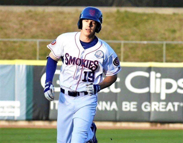 Jared Young runs the basepaths during a 2019 game playing for the double-A Tennessee Smokies. The 25-year-old Prince George native is back in Tennessee awaiting the start of the new season on Tuesday.