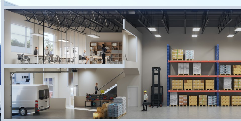 Cutaway of strata industrial space at the new Langley Gateway project. | Denciti Development Corp.