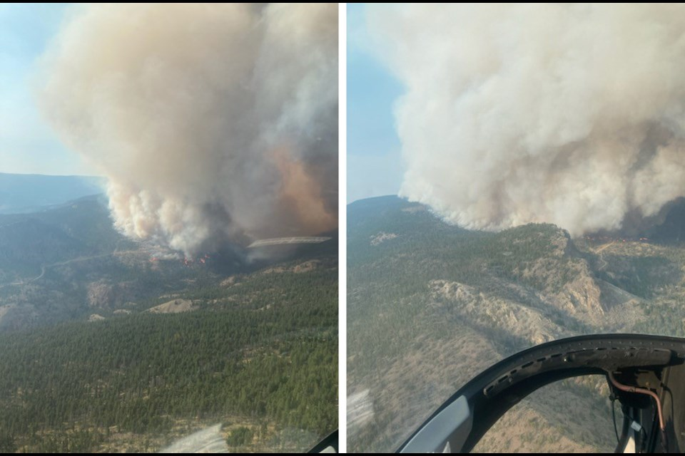Two views of the Sparks Lake wildfire, as shot by the BC Wildfire Service on July 2.