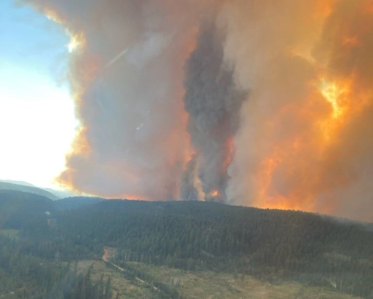 The White Rock Lake wildfire, seen here on July 25, 2021, has prompted evacuation orders and alerts and continues to grow.