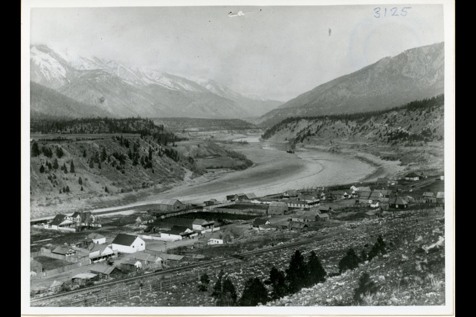 A view of Lytton looking north in 1895. The C.P.R. right of way is seen on the east side of town. Photo courtesy KMA # 3125