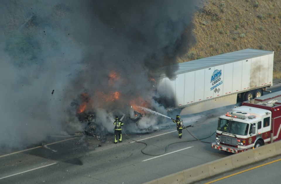 Loud explosions heard as tractor trailer bursts into flames on Trans-Canada Hwy 1_0