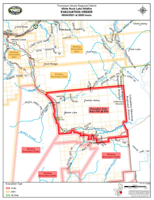 White Rock Lake fire evac map
