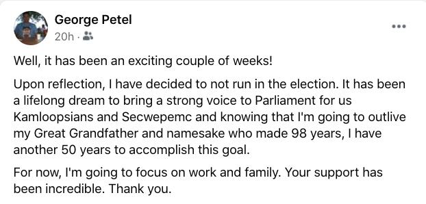George Petel Facebook post