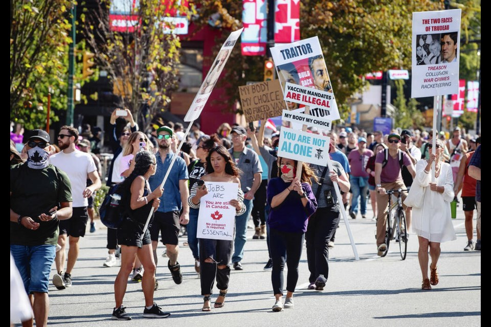 An anti-vaccination and anti-mask rally held on Belleville Street in front of the B.C. legislature on Saturday. DARREN STONE, TIMES COLONIST