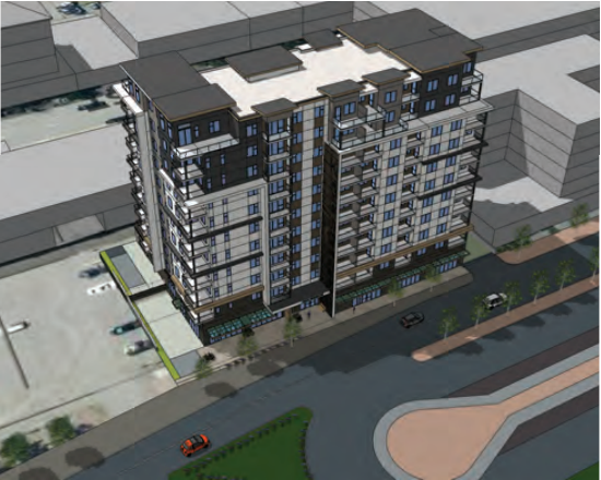 An artist's rendering of what the apartment building fronting Lansdowne Street, between Sixth and Seventh avenues, will look like once completed.