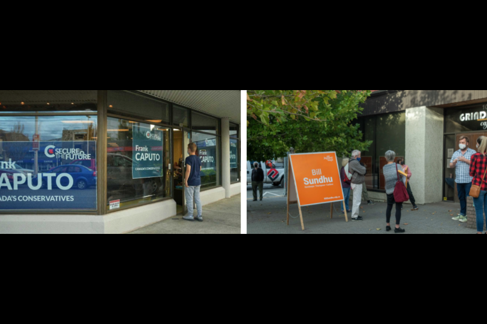 Left: A volunteer checks in for a shift at the Conservative campaign office, downtown on Seymour Street. Right: NDP campaign manager Ryan Painter briefs volunteers before working a shift at the NDP campaign office, downtown on Fourth Avenue.