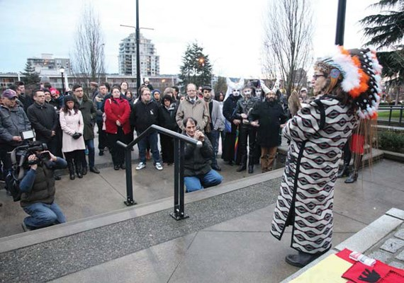 Chief Sandra Laframboise, from the Dancing to Eagle Spirit Society speaks to the crowd at New Westminster City Hall during the Justice for January rally on Jan. 5.