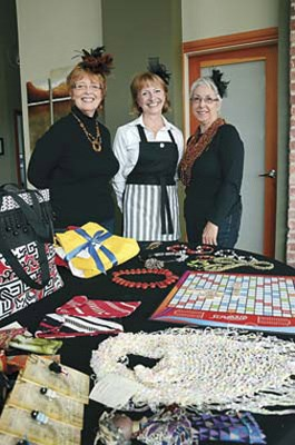 Reaching out to Africa: From left are Janine Reid, Arlene Lacroix and Carole Wylie, getting ready for the Royal City Gogos upcoming marketplace and Scrabble fundraiser.