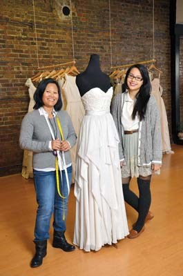 Sewing up success: Mom and daughter team of Merly and Gabrielle Bayona are making a name for themselves on bridal row in New Westminster with their shop Ellebay Bridal Boutique.