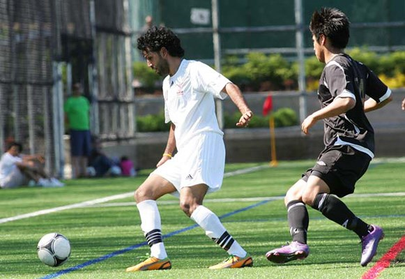 Good start: Khalsa Sporting Club, in white, opened the Pacific Coast Soccer League men's premier division with a pair of wins over two Victoria teams at Queen's Park last weekend.