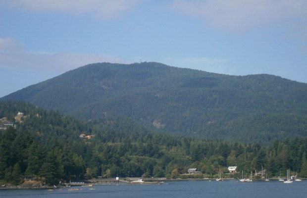 Bowen Island and its peak, Mt. Gardner, seen as the ferry approaches Snug Cove.