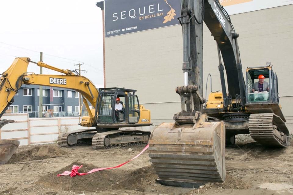 Mayor versus Mayur excavator dig-off race at Sequel development groundbreaking