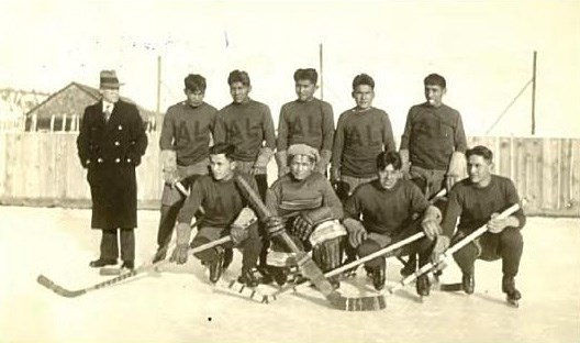 The Alkali Lake Braves with centreman Alec Antoine in the middle of the back row.