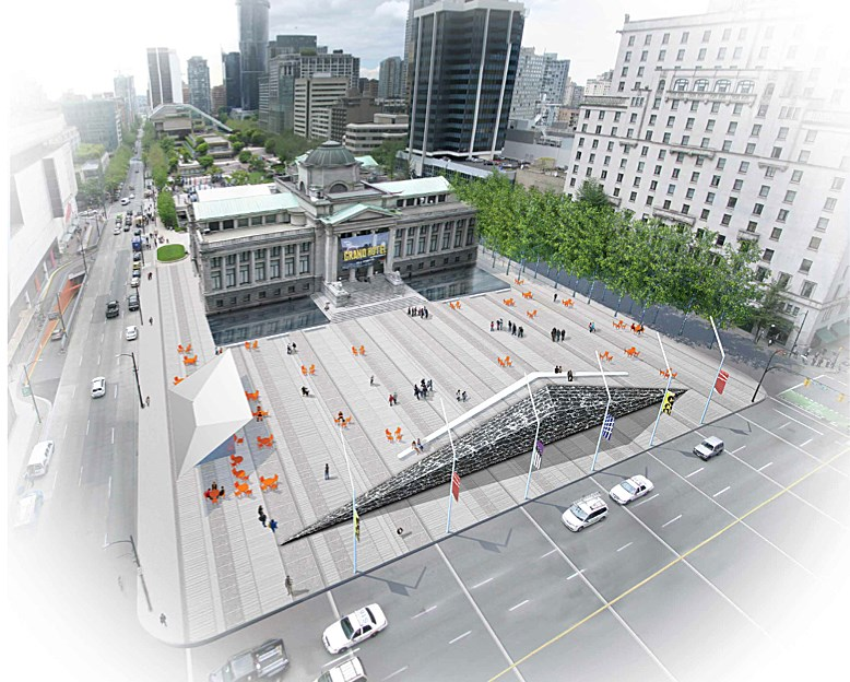 The Vancouver Art Gallery is asking the public for input on how to redesign the property's north plaza. It recently presented three designs: wet, active edge or PLALO. Its next open house is Oct. 5 at UBC Robson Square.