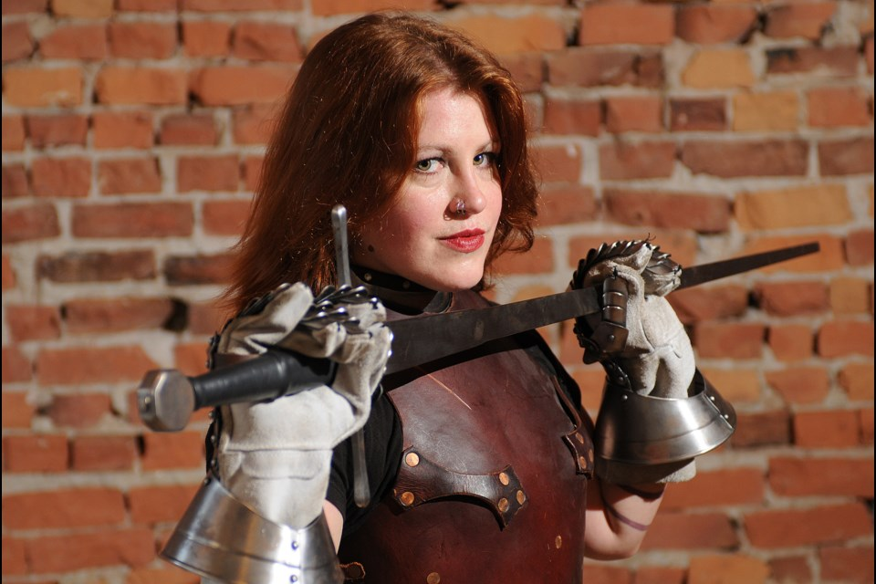 Kimberleigh Smithbower Roseblade hand-crafted her own longsword, which takes her name.