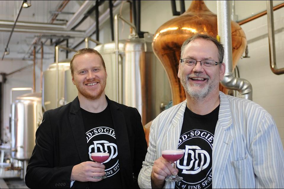 Owners Joshua Beach (l) and Gordon Glanz at their Odd Society distillery on Powell Street. photo Dan Toulgoet