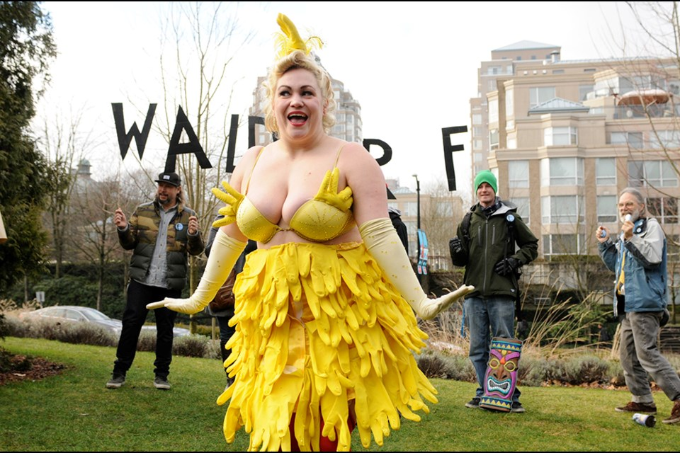 """Waldorf schooled: The arts are important to our city because it creates a culture and a meaning. We're able to express what we stand for and I would hope that it's something more than just condos. — Burlesque dancer """"April O'Peel"""" on the demise of the Waldorf. Dan Toulgoet"""