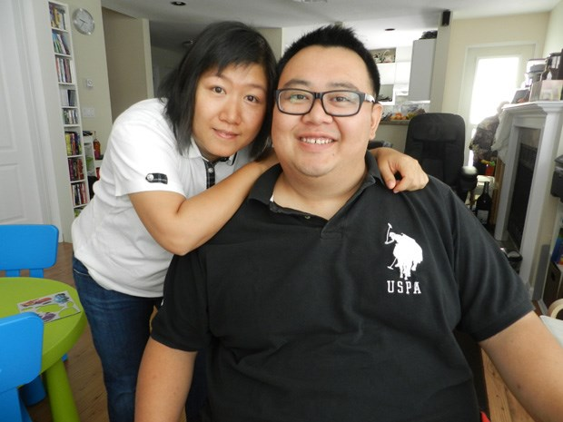 David Chin, with wife Carol, not long after the surgery. Chin used to entertain clients several times a week at dim sum restaurants.