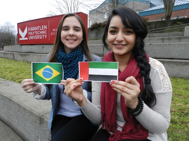International students Bruna Lopes (Brazil) and Priyanka (Dubai) say they have gained much more than just academics during their time at KPU's Richmond campus. Photo by Philip Raphael