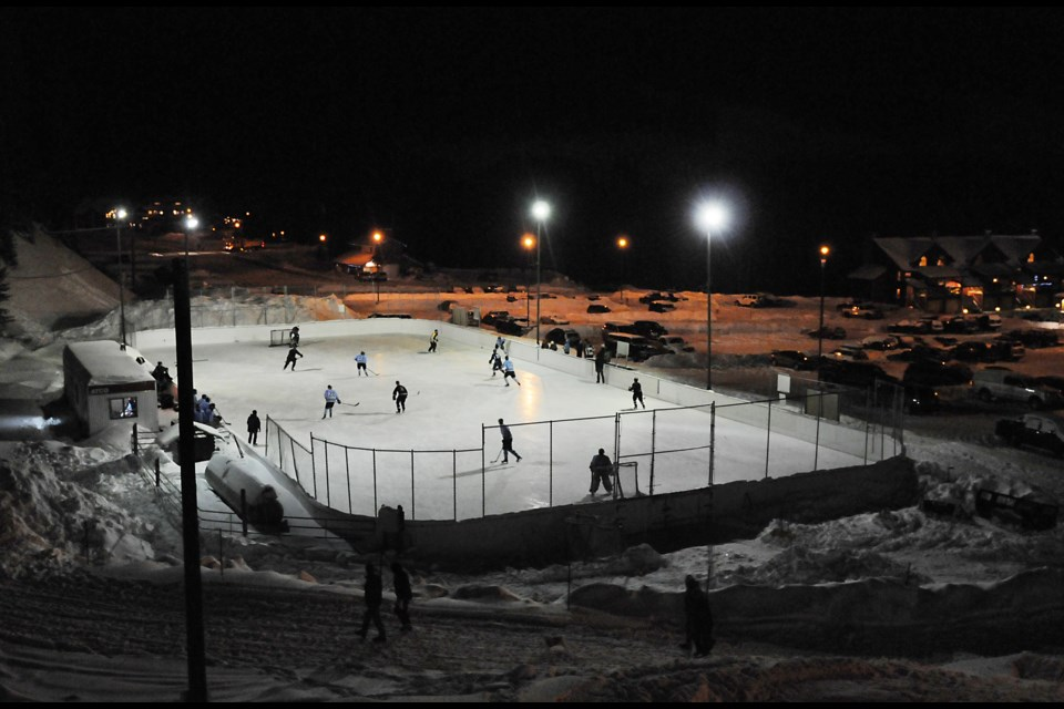 The outdoor National Hockey League-sized hockey rink at Apex Mountain Resort in Penticton, British Columbia once belonged to the Vancouver Voodoo roller hockey team up until the Roller Hockey International league folded in 1996. Photograph by: Rebecca Blissett
