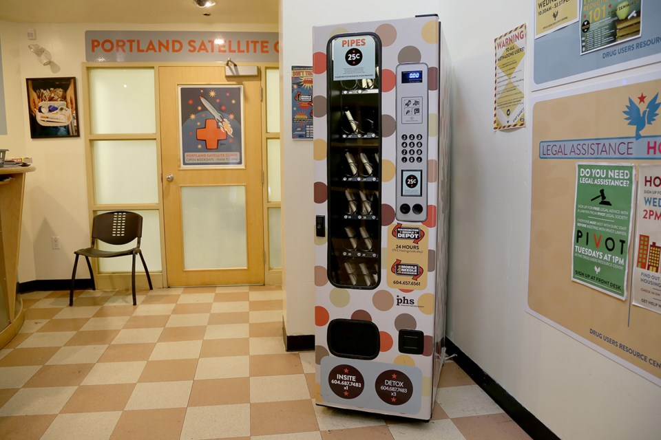 The PHS Community Services Society has installed two vending machines in the Downtown Eastside that sell pipes for smoking crack cocaine. Each pipe costs 25 cents. Photo Kevin Hill