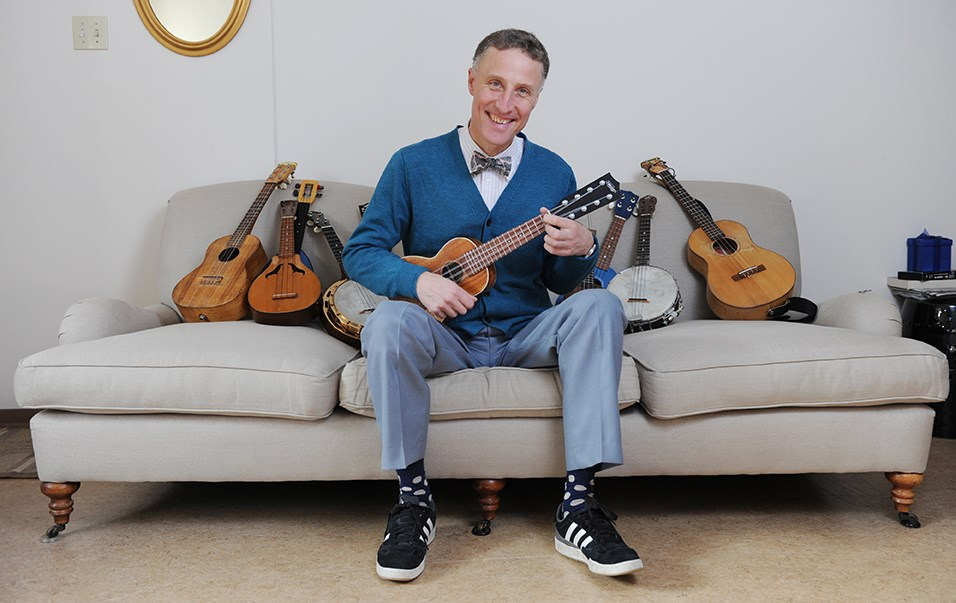 Ralph Shaw, right at home with his ukuleles. Shaw is the co-founder of the Vancouver Ukulele Circle which began in 2000. Photo by Rebecca Blissett
