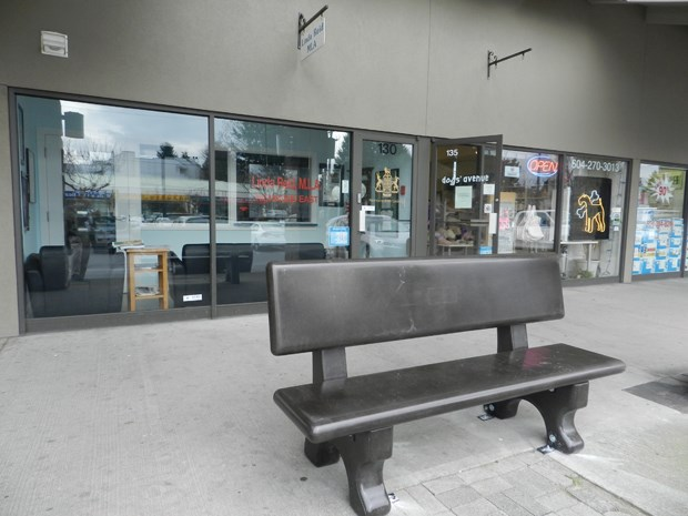 A bench, bolted to the concrete sidewalk outside Richmond East MLA Linda Reid's office is one of the security upgrades that cost taxpayers $79,000.