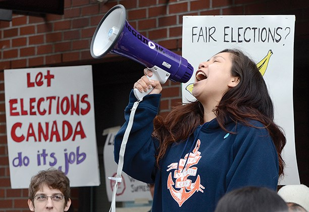 Mandy Nahanee — who also goes by the First Nations name Shamentsut — was one of those protesting the federal government's Fair Elections Act.