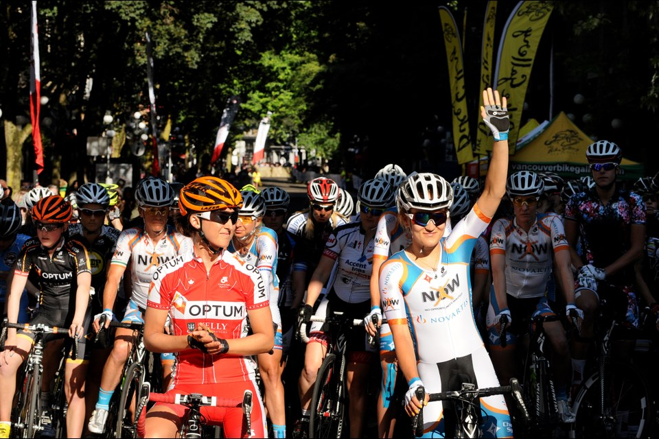The elite women's field is introduced in advance of the 2013 Gastown Grand Prix. Leah Kirchmann (left) won.