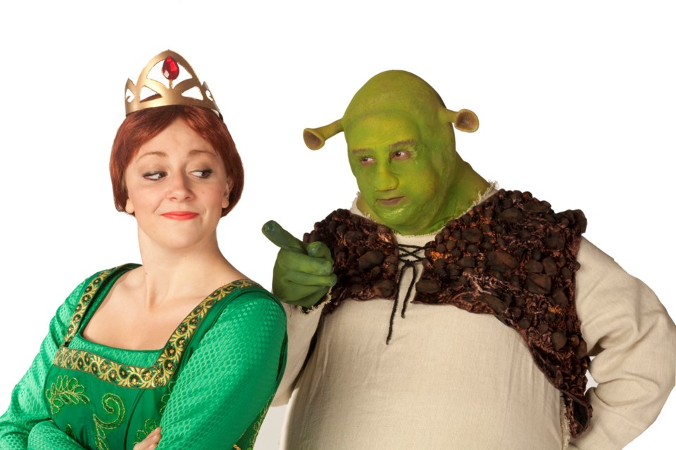 Lindsay Warnock and Matt Palmer as Princess Fiona and Shrek in this year's Theatre Under the Stars production of Shrek: The Musical.