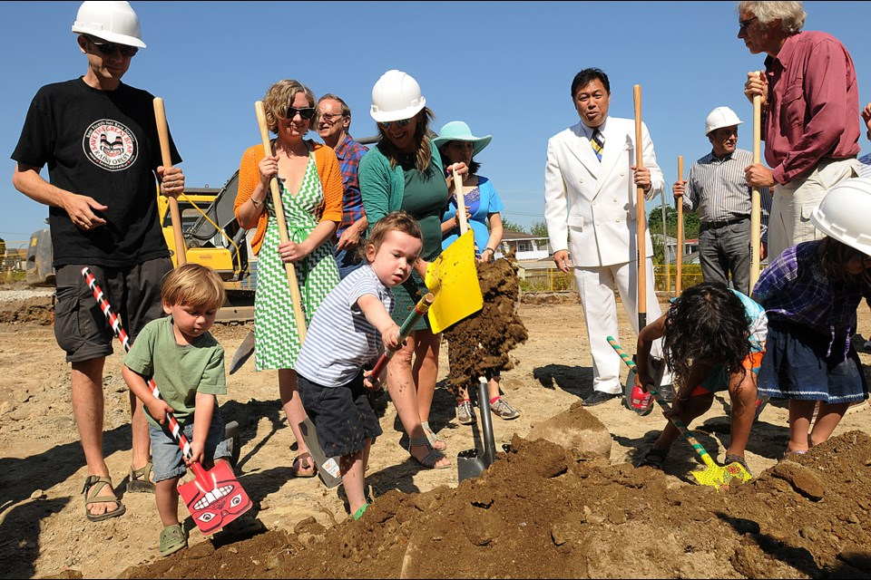 A ground-breaking ceremony for Vancouver's first cohousing complex was held July 16. Photo Dan Toulgoet