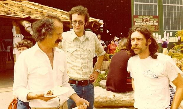 Al Clapp, Ross Garrick and Dan Clemens (wearing a DeLuxe T-shirt) on the Habitat Forum site in 1976.