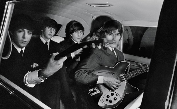 The Beatles in limo in Boston, Mass. on Sept. 12, 1964.