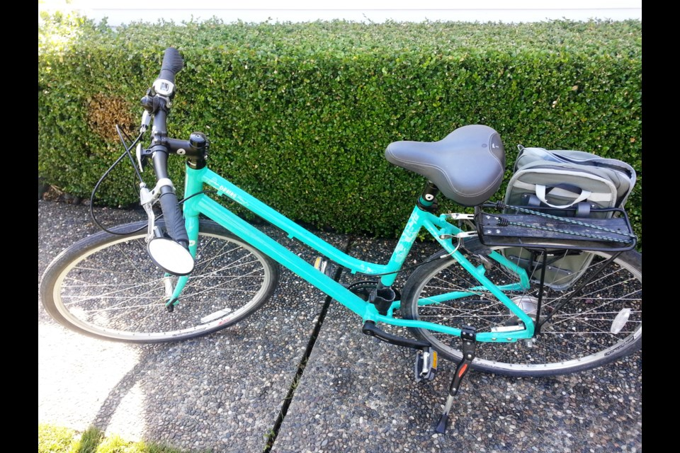 If a bicycle registration program was implemented, a sticker could be affixed to the frame or a license plate could be attached to the seat. Photo Michael Geller