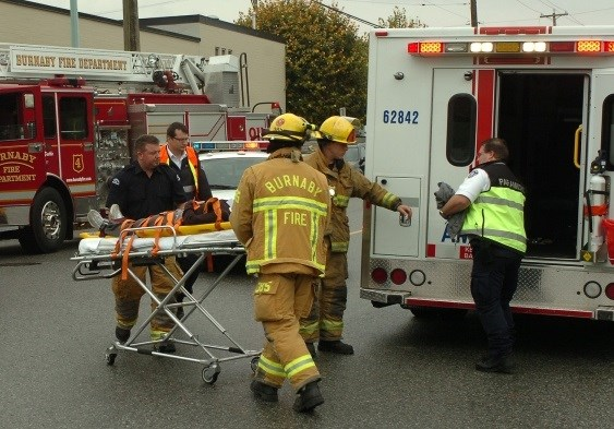 Burnaby Fire Department with ambulance