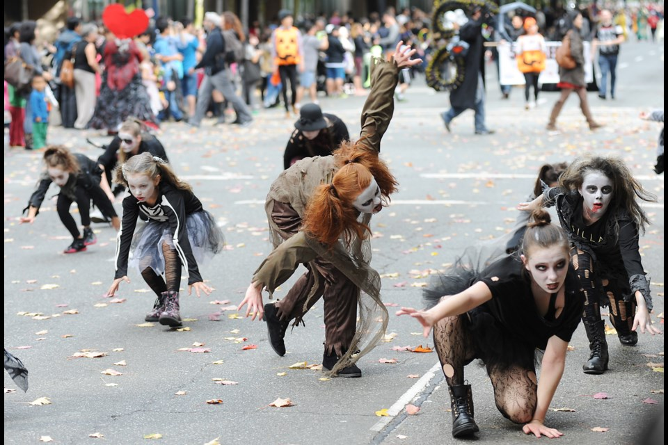 Zombies were out in full force at Vancouver's Halloween parade this past Sunday. These ones were provided by the Encore Dance Academy. Photograph by: Rebecca Blissett