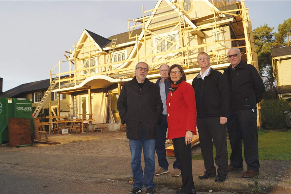 Lynda Terborg is joined by (from left) Joel Berman, Lee Bennett, Neil Cumming and Martin Woolford to form the city's first ratepayer association, which aims to lobby the city regarding regulations on home size and character.