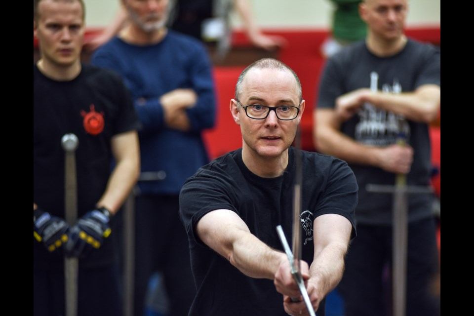 Guy Windsor, a swordplay instructor from Helsinki, Finland, demonstrates the medieval longsword Saturday morning during the Vancouver International Swordplay Symposium held at the Vancouver Masonic Centre. The symposium ran Thursday through Sunday and was hosted by local school Academie Duello. Photograph by: Rebecca Blissett
