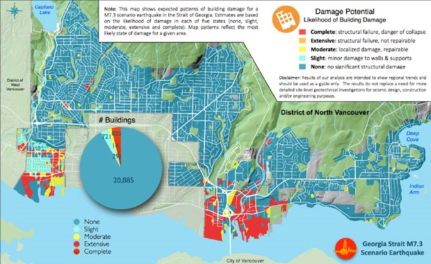 This map shows damage expected if a 7.3 magnitude earthquake were to hit the District of North Vancouver today, taking into account soil types, location and building construction. Areas in red would likely be hit with the most damage, areas in blue with the least damage.