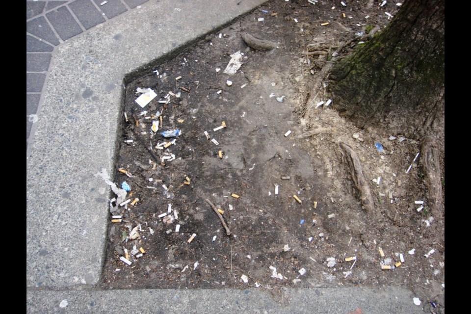 Cigarette butts litter Vancouver.