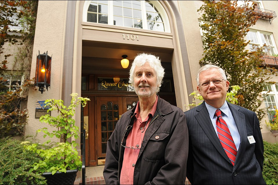 The historic Queen Charlotte building in Vancouver's West End is part of the Heritage House tour. Pictured outside the building is artist/author/historian Michael Kluckner and Daryl Nelson, a long-time resident of the Queen Charlotte. Nelson also sits on the VHF board. photo Dan Toulgoet