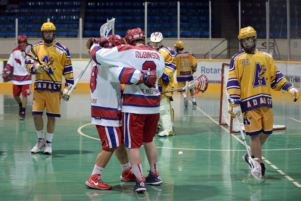 New West Salmonbellies vs Coquitlam Adanacs in game 2 of the BC Junior Lacrosse league playoff semifinal.